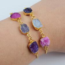 "5Pcs 7.5"" Freeform Dyed Rainbow Agate Druzy Adjust Bracelet Gold Plated BG1441"