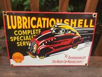 "Vintage Shell Oil Lubrication Heavy Porcelain Sign Gas & Oil Sign 16.5""x11"""
