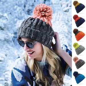 Cable Knit Beanie Hat Ski Pom Pom Bobble Woolly Chunky Winter Warm Thermal Band