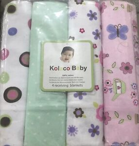 "4 x Baby Nursing Wrap swaddling cotton Receiving Blankets Pack 30 x 30"" girls"