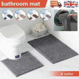 2PCS Bathroom Bath Mat Set Non Slip Pedestal Mat  Water Absorbent Toilet Rugs