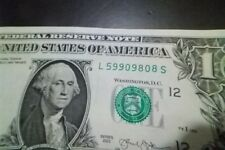 "ONE DOLLAR  BILL (fancy Serial Number) RAISED/STUCK DIGIT HIGH 8"" ERROR NOTE"