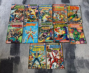 (12x) Lot vintage MARVEL COMICS (AVENGERS, DAREDEVIL, MAN-THING) 🔥🔥