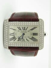 Cartier 18k White Gold Tank Divan Original Factory Diamonds Leather Strap Watch