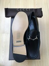 NEW GUCCI MENS SHOES LOAFERS BLACK LEATHER HORSEBIT UK 9.5 43.5
