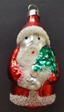 Glass Santa holding a Christmas tree, Christmas bulbs from Czechoslovakia