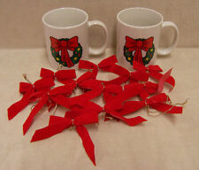 Two Christmas Mugs Cups  Houston Foods 1992 and 12 Red Bows