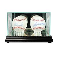 *NEW Double Baseball Glass Display Case MLB Black Molding FREE SHIPPING Made US