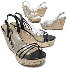 New Women's Clear Straw Woven Espadrille Platform Heel Slingback Sandals