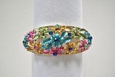 """Pastel Floral Hinged Oval Cuff Bracelet w/Austrian Crystals 7.5"""" NIB/NWT"""