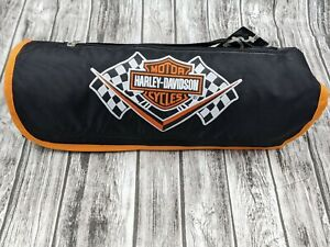 Harley Davidson Motorcycle Black/Orange/White Roll Up Blanket/Tarps