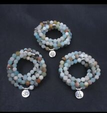 NATURAL AMAZONITE PRAYER BEADS 108 8mm Mala Stone Necklace Stretch Wrap Bracelet