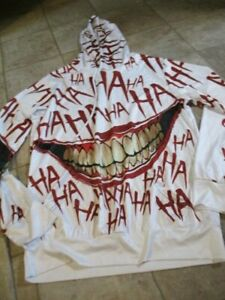 devin du hoodie xl white with red ha ha ha and scary joker like smile pullover