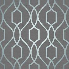 Apex Géométrique Treillis Papier Peint-Gris Ardoise Bleu Fine Decor FD41996 Métallique