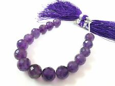 """Natural Amethyst Round Ball Faceted 8-10mm, 5""""Inch 70 Cts Strands Gemstone Beads"""