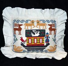 Holiday Cross Stitch Needlepoint Christmas Nordic Ark Reindeer Pillow Hand Made