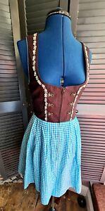 Vintage Oktoberfest Style Dress, Blue, Brown, Corset Style, Size 6-8