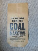 VINTAGE 25 POUND PAPER COAL BAG NEW OLD STOCK, 25 by 12 Inches - FREE SHIPPING