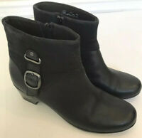 "Clarks Sz 11 Ankle Boots Emslie Black women's Comfort Shoes Excellent 2"" Heel"