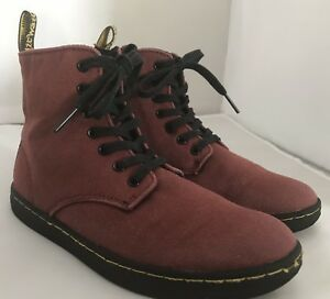 Dr. Martens Marley Canvas Red Zip Up Boots Size 2 Youth Unisex