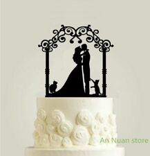Black Acrylic Flower Door Couple Kiss Cake Topper For Wedding