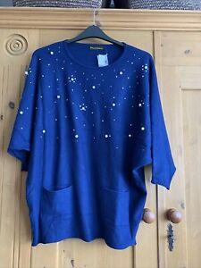 Frank Usher Crystal Knit Top Colbalt Blue Size L/XL