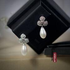 Boucles d`Oreilles Perle de Culture Goutte Long Blanc Argent Massif 925 14mm C