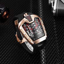 HU002 Big Dial Triangle Sport Watch Rose Gold Quartz Men's Watches Rubber Strap