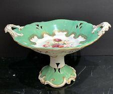 Antique English Porcelain Green Pierced Centerpiece Compote Floral & Gold Design
