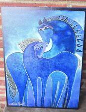 "Westland Gifts Laurel Burch Indigo Horses Canvas Wall Art #26010 16""x 12"" New"
