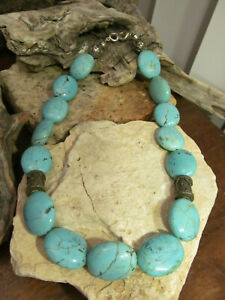 Vintage 925 Sterling Silver Turquoise Stone Oval Beads Beaded necklace 129g