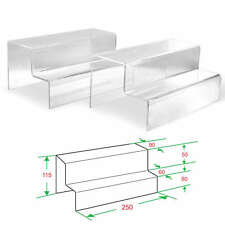 """2x Clear Acrylic 2-tier steps display Riser Stand Jewelry Gift Showcase 4-1/2"""" H"""