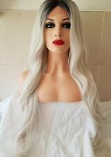 Platinum White Grey Silver Blonde Human Hair Wig Front Lace Wig Ombre Dark Roots