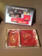 3~Piece~Floral~Vintage~Lacquer Ware~Nesting~Tray Set~Toyo Trading Japan