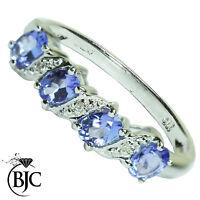 Bjc 9Ct Oro Blanco Tanzanita y Diamante Eternidad Talla o Anillo de Compromiso
