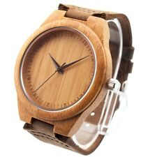 New Design Bamboo Wooden Watches Real Leather Strap with Japan Quartz Movement