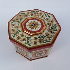 Vintage Tin Octagonal Container Box with Floral Decoration Hand Painted