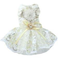 Dog Lace Dress Wedding Clothes Sequin Bow Mesh Bride Floral Pet Costume New