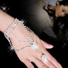 US Women Wedding Bridemaid Rhinestone Bracelet Bangle Chain Link Finger Ring