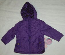 TODDLER Girls Hooded WINTER COAT Jacket PURPLE Zebra Stripe Lining 2T