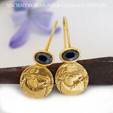 925k Sterling Silver Handmade Horse Coin Earrings w/ Onyx 24k Gold Vermeil Omer