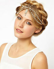 BOHO BRIDAL 1920's FLAPPER GREAT GATSBY PEARLS GOLDEN CHARM HEADPIECE  HEADCHAIN