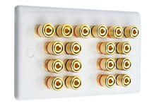 9.0 Audio AV Speaker Wall Face Plate Slimline White Gold 18 Binding Posts
