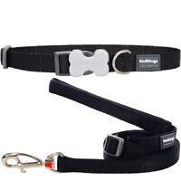 Red Dingo Classic Plain Nylon Dog / Puppy Collar / Lead in BLACK XS - LG