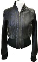 """RIVER ISLAND REAL LEATHER BIKER STYLE JACKET CROPPED SIZE UK 12 BUST 36"""" LADIES"""