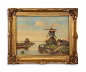 9973260-ds Oil Painting/Wood Wood/Resin-Gold Piece Frame Romantic Mill New