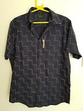 New Burton Menswear Blue Patterned Stripe Shirt Size L Short Sleeve Cotton Blend