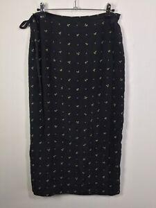 "VINTAGE Max Mara Weekend Line Black Floral Silk Midi Wrap Skirt Size 14 W28-34"""
