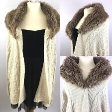 Zara Womens M Knit Long Chunky Cardigan Oversized Jumper Coat Faux Fur Ladies