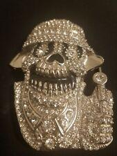 skull belt buckle hiphop bling ..size Large